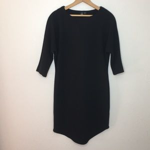 Asos ribbed black batwing dress 3/4 sleeve 8